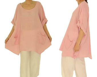 HY500RA2 ladies tunic blouse linen vintage size 2 - portable 48 50 52 54-pink