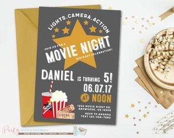 Movie Night Birthday Invitation, Movie Party Invitation, Movie Birthday Invitation, Movie Invitation, Movie Night Under the Stars Invitation