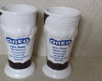 Pair of Oreo Cookie Shake Recipe Glasses