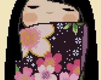 Japanese Kokeshi Girly Doll -KIYOMI -Cross Stitch Pdf Pattern