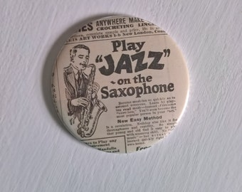 Play Jazz on the Saxophone Pocket Mirror --- Vintage 1920's Speakeasy Musician --- Jazzy Art Deco Flapper Beauty Accessory Stocking Stuffer