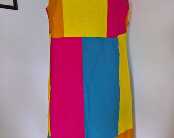 Vintage Neon Mod Almedahl Shift Babydoll Dress --- 1960's 1970's Mod Swedish Design --- Retro Colorful Groovy Psychedelic Colorful Clothing