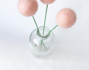 Pom pom flowers, felt flowers, felt decor, felt billy buttons, felt ball flowers, craspedia bouquet, floral arrangement, pom pom decor