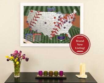 Baseball Adventures Travel Map - Ballpark Tracking Map - Baseball Map - Baseball Stadium Map - Baseball Tracking - Push Pin Travel Map