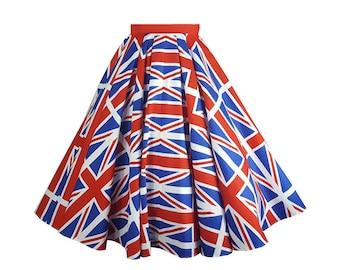 Union Jack Skirt - Full Circle /  Swing Jive Flag Skirt 1940s 1950s style British UK themed Vintage Pinup Retro Burlesque Kitsch