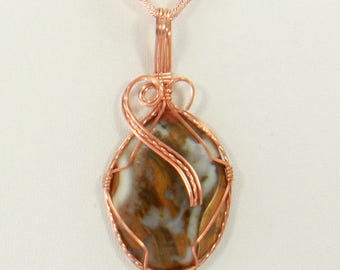Agate Wire Wrapped Pendant, Wire Wrapped Jewelry, Wire Wrapped Stone Pendant, Copper Wire Wrap Necklace Agate Gemstone Pendant
