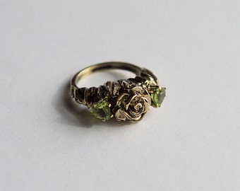 Rose Peridot Ring Sculpted Jewelry Black rose Thin Lizzy inspired