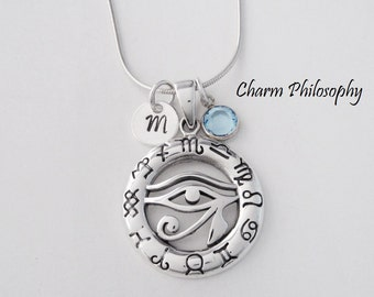 Egyptian Eye of Horus Necklace - 925 Sterling Silver Jewelry - Personalized Initial and Birthstone Charm