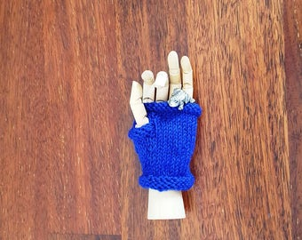 Blue childrens fingerless gloves - toddler gloves - bright blue wool - kids blue gloves - unisex warm mittens