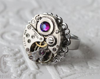 Steampunk Silver Round Filigree S.Steel Adjustable Ring with Vintage Watch Movement and AB Blue Swarovski Crystal