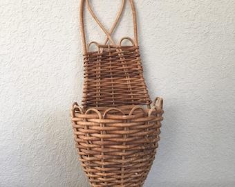 Vintage Boho Hanging Planter, Wicker, Rattan Planter, Succulent Pot, Wall Decor, Gifts Under 20