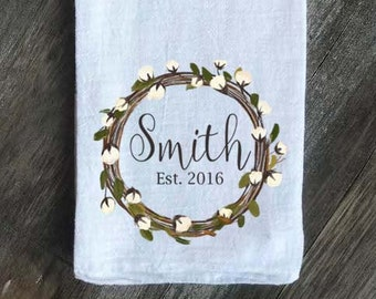 Farmhouse Personalized Flour Sack Tea Towel, Cotton wreath Kitchen Towel, Personalized Towel, Anniversary Gift, Wedding Gift, Housewarming