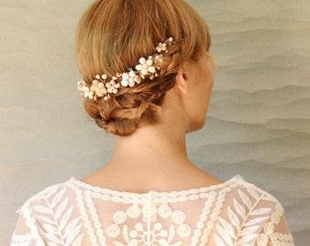 Beaded floral Bridal Hair Vine. Handmade Bridal Hair Accessory. Wedding Hair Vine