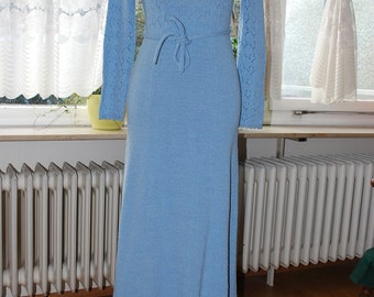 70's Periwinkle Blue Knit Full Length Gown