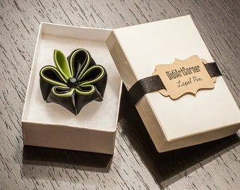 Lapel Pin Adonis - Black with Green Acsent Kanzashi Inspierd Flower and Green Leaf with Black Crystal