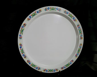 Melmac Platter Kenro Norwegian Rosemaling Distelfink Bird White Melamine Tray