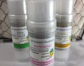 GENTLE FORMULA All Natural Solid Deodorant, baking soda free, cornstarch free, aluminum free, essential oil deodorant