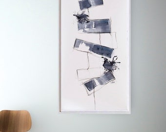 Original large abstract painting, modern abstract wall art, horizontal art, abstract, abstract ink art, art, large minimalist wall art, ooak