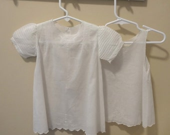 1950s Vintage Hand Made Infant Baby Dress & Slip in White, Hand Embroidery, Cut Work, Tiny Tucks, French Seams, Vintage Baby Dress Clothing