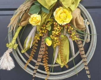 Western Woodland Lariat Antler Rope Spring  Summer All Season Door Wreath