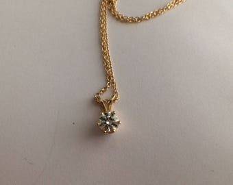 14K Yellow Gold Diamond Pendant Circa 1970
