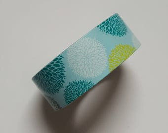 Washi Tape - Flowers - Floral - Circles - Blue Green