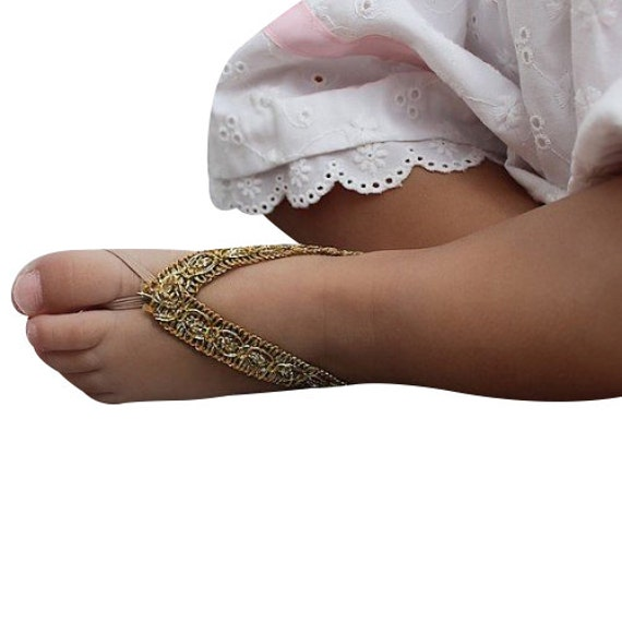 Baby Barefoot Sandals, Gold Baby Sandals, Barefoot Sandals, Wedding Sandals, Newborn Sandals, Beach Sandals, Braided Sandals.