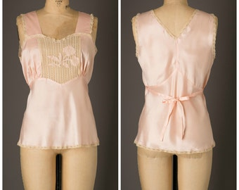 1940s Pale Pink Rayon Lingerie Top