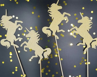 Glitter Unicorn Centerpiece, Unicorn Party, Unicorn Decor Decorations - Pegasus - Birthday - Baby Shower, Unicorn Cake Topper - Set of 8