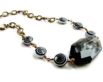 Bold Black Onyx and Black and White Swirl Beaded Necklace, Modern Black and White Necklace, Chunky Choker, Black Statement