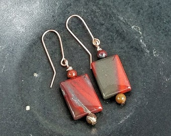 Red Jasper Earrings, Bohemian Earrings, Natural Jewelry, OOAK Handmade Gifts, Gift for Her, Natural Earrings, Artisan Jewelry, Red Earrings
