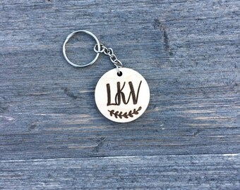 Personalized Monogram Keychain, Wood Keychain Engraved Cute Anniversary Wedding Birthday Christmas Bridesmaid Key Chain Ring Gift