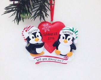 FREE SHIPPING Penguin couple personalized Christmas ornament / First Christmas / Couple ornament  / Anniversary / Gift for Her / Valentines
