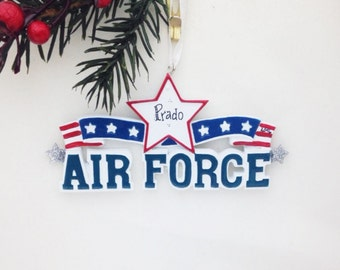Air Force Personalized Christmas Ornament / Armed Forces Ornament / Military Ornament / Hand Personalized Name or Message