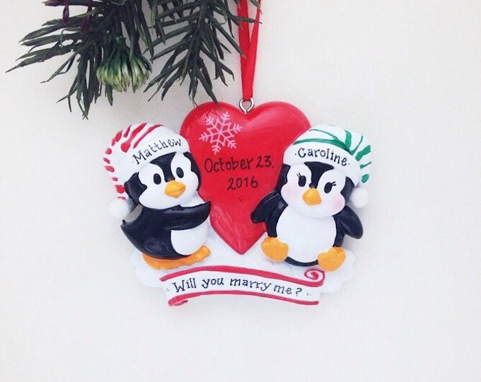 Featured listing image: Penguin couple personalized Christmas ornament / First Christmas / Couple ornament  / Anniversary / Gift for Her / Valentines