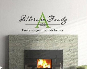 Family Monogram Wall Decal | Personalized Family Name Decal | Vinyl Lettering | Wall Art |  Family is a Gift That Lasts Forever CE130