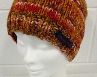 Tan Multi Coloured Handknit Beanie Hat
