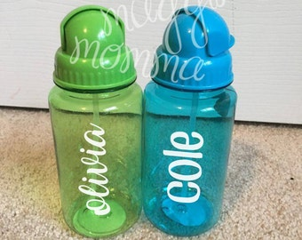 Kids Straw Bottles - Personalize with Your Child's Name! Green/Blue/Pink Available