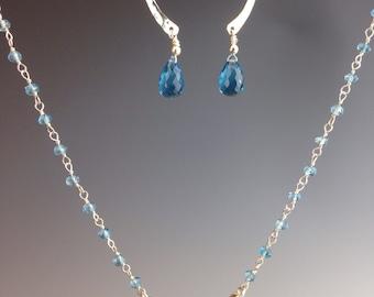 "Blue Topaz necklace ~ Blue Topaz gemstones ~ Gemstone chain ~ Apatite Jewelry ~ Blue Topaz Jewelry ~ Jewelry gift - Apatite chain ~""sky blu"