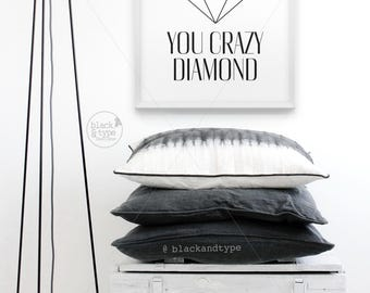 Shine On You Crazy Diamond || Pink Floyd, typography art print, inspirational print, monochrome art, black and white art, pink floyd lyrics