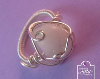 White Agate Ring, Size O Ring, Wirework Ring, Silver Ring, UK