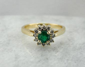 Emerald and Diamond Halo Ladies Ring in Yellow Gold, Round Emerald Ring with Hefty Gold Shank RFMTQL-N