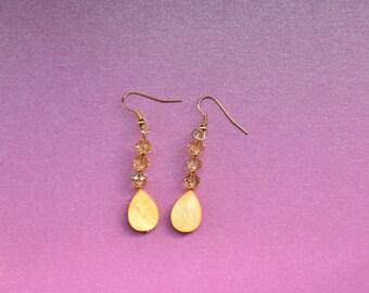 Yellow drop earrings, yellow dangle earrings, small yellow earrings, dainty earrings, tear drop earrings, yellow bridesmaid jewellery gift
