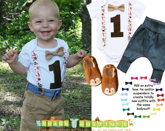 Woodland First Birthdady Shirt - Fox Birthday Outfit - Forest Animals - First Birthday - 1st - Suspenders - Bow - Animals - Baby Shower