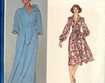 1970's Vogue 1281 Oscar de la Renta Flowing Dress with Deep V Neckline & Wide Sash Size 14
