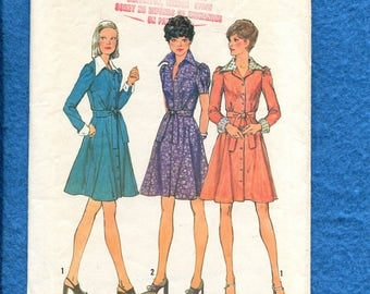 1970's Simplicity 6554 Flared Shirt Dress with Large Pointed Collar Size 12 UNCUT