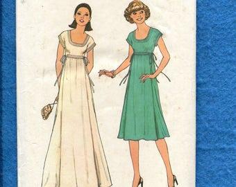 1970's Simplicity 7882 Scoop Neck Short Kimono Sleeve Empire Waist Dress Size 12