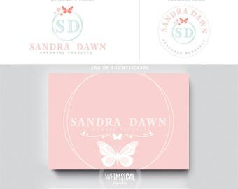 cute butterfly logo 2 female teal businesscards  simple modern feminine branding- logo Identity for Children and family photographer