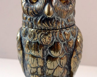Gorgeous 1880s Victorian Antique OWL Inkwell. Made from Cast Brass with Original Glass Eyes
