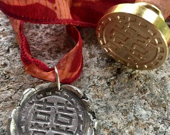 Double HAPPINESS Silver Pendant / Wax Seal Silver Pendant